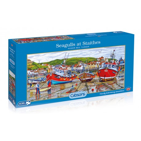 Seagulls at Staithes High Quality 636 Piece Jigsaw Puzzle